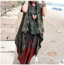 New product release in the summer of 2015, the original design 100% cotton linen loose big yards of women vest
