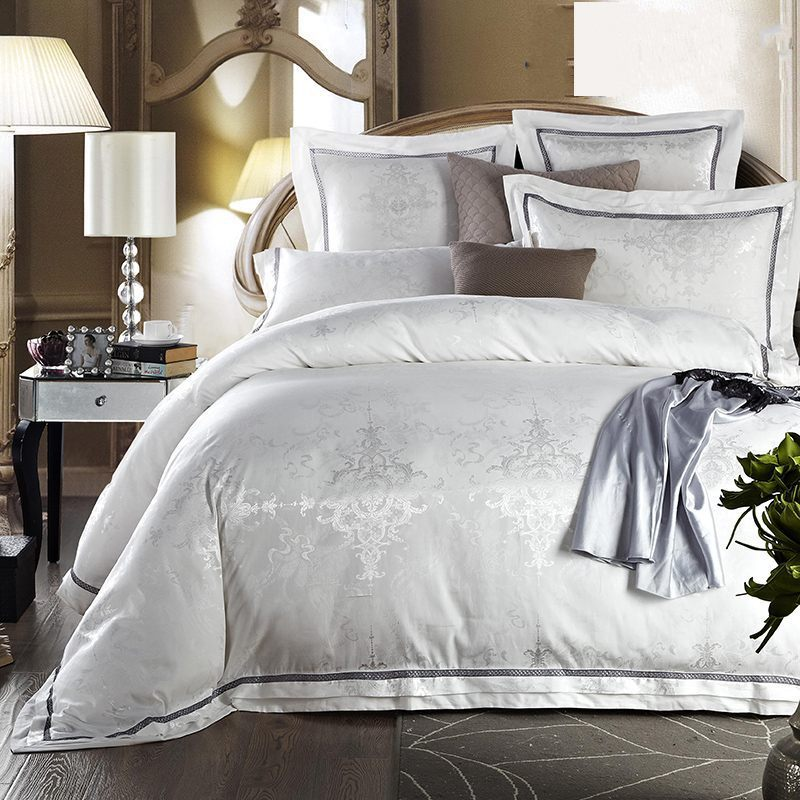 luxury white jacquard satin comforter duvet cover king. Black Bedroom Furniture Sets. Home Design Ideas
