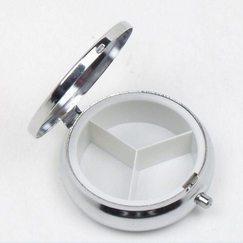 1Pcs Tablet Pill Boxes Metal Round Silver Holder Advantageous Container Medicine Case Small Case Free Shipping Wholesale(China (Mainland))