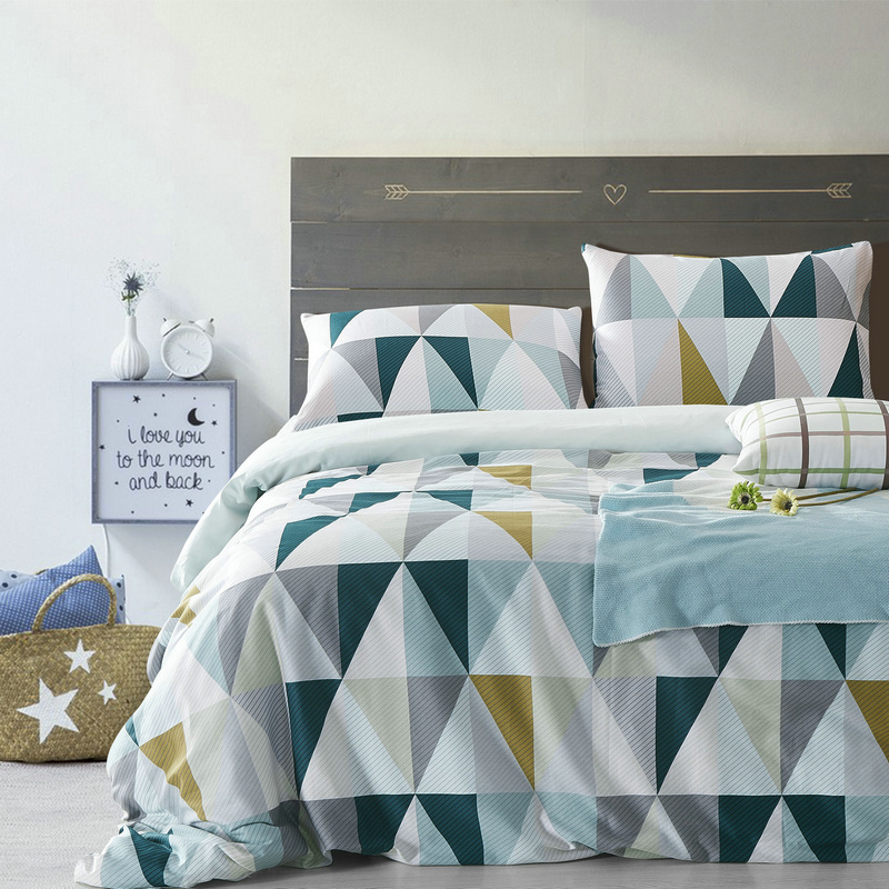 Cotton Nordic Style Bedding Set 3pcs Quilt Cover Blue And White Geometric Duvet Cover Queen Pillow Case(China (Mainland))