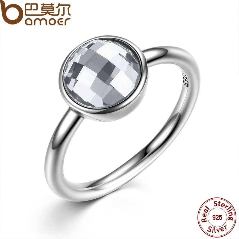 BAMOER 3 Color 925 Sterling Silver Rings White & Blue Big Glass Stone Women Finger Ring Compatible With Pan Jewelry PA7182(China (Mainland))