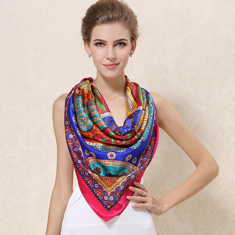 100% Natural Silk Square Scarves Shawls Female Top Grade Real Silk Scarf Shawl Fashion Printed Large Size 110cm x 110cm F518(China (Mainland))