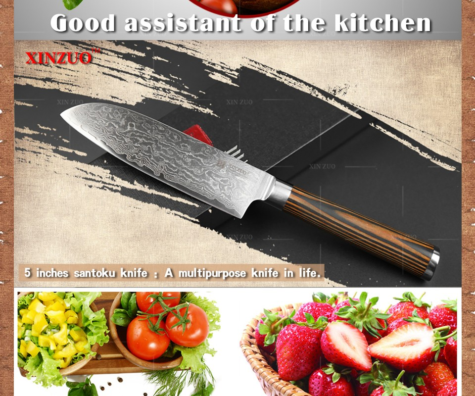"Buy XINZUO HOT 5""inch chef knife VG10 73 layers Damascus steel kitchen knife very Shap santoku knife color wood handle FREE SHIPPING cheap"