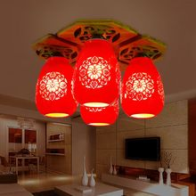 Classical Chinese Style Red Ceramic E27 90-260V Four Head Bamboo Ceiling Plate Ceramic Ceiling Lights(China (Mainland))