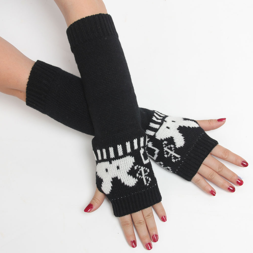 Korean version of the cute little cartoon rabbit pattern knit wool gloves long section of half finger arm warmers fashion lady(China (Mainland))