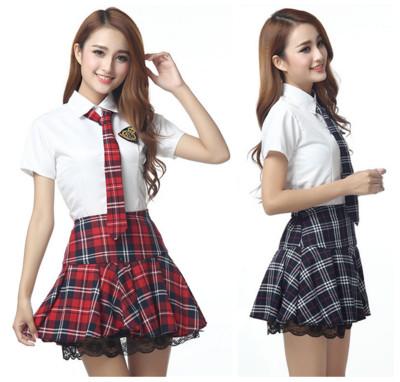 Short Sleeves Japanese School Uniform Girl Sailor Dress Red Tibetan Blue font b Plaid b font
