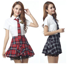 Short Sleeves Japanese School Uniform Girl Sailor Dress Red/Tibetan Blue Plaid Skirt Uniformes Japonais Korean Costumes For Girl