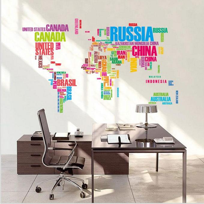 Colorful Letters World Map Wall Stickers Living Room Home Decal Office