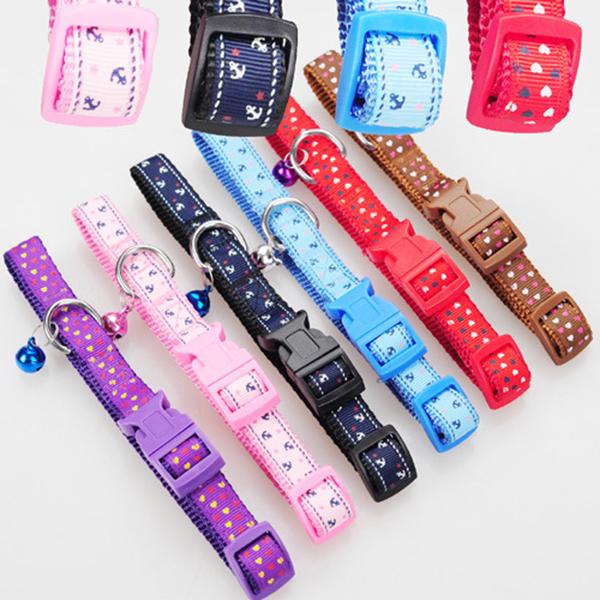 Pet Dog Puppy Cat Brilliant Collar Neck Necklace Strap Ajustable Fashion Bell Cartoon Design L Gift(China (Mainland))