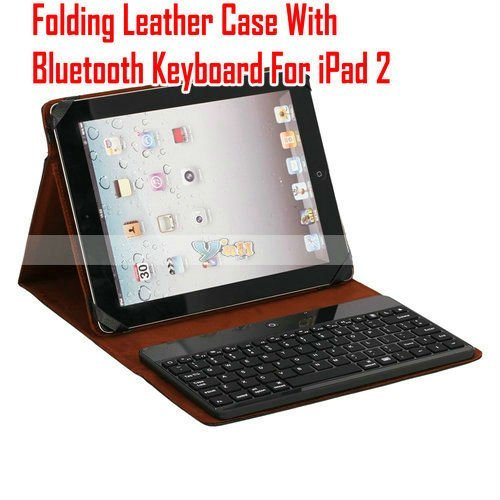 Folding Leather Case For iPad 2 With Bluetooth Wireless Keyboard Free Shipping Wholesale 5Pcs/Lot - 87003410