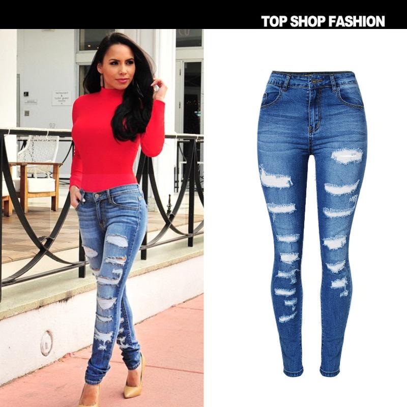 Plus size 44 46 Ladies High Waist jeans woman Elastic Denim Pants Cut Knee Hole female