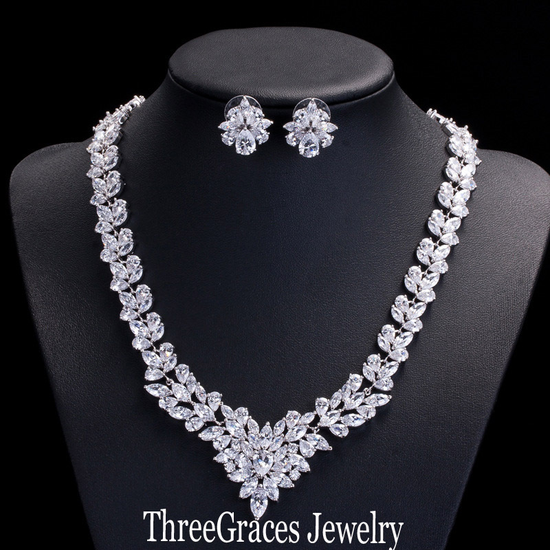 Luxury Nigerian Design AAA+ Cubic Zirconia Diamond Bridal Wedding Necklace And Earrings Jewelry Sets For Women BJS007<br><br>Aliexpress