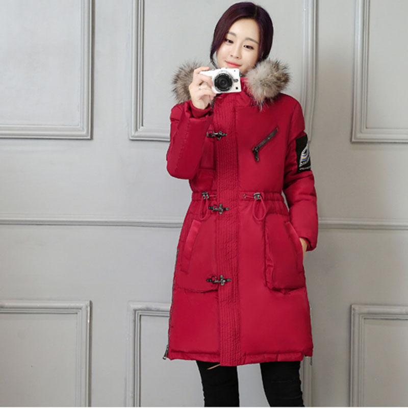 Han edition in 2016 winter military dress warm heavy hair long coat collar with thick cotton-padded jacket(China (Mainland))