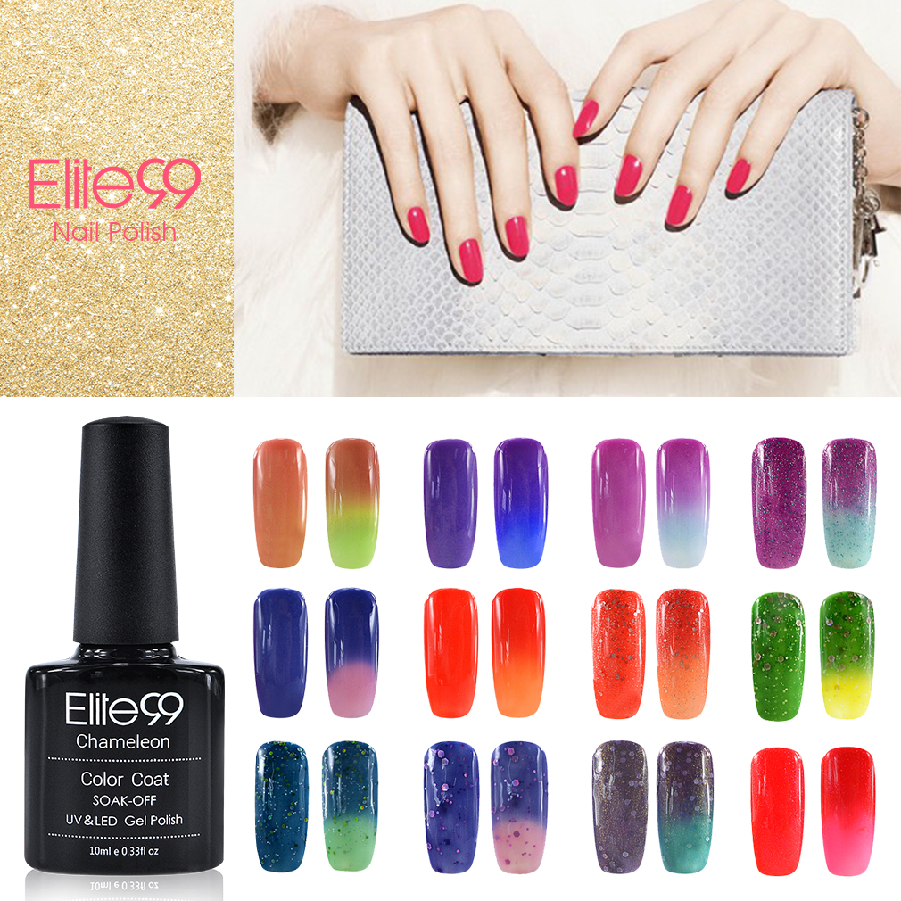 Elite99 Changing Color Chameleon Soak Off gel Polish 10ml Chameloen Gel Top Base Coating Temperature Change Gel Lacquer Pick 1(China (Mainland))