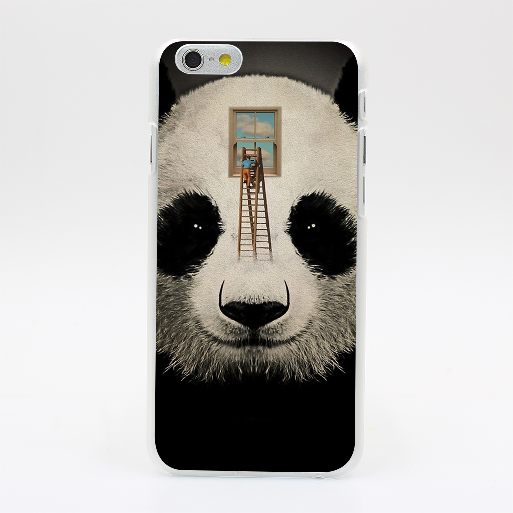 561T Panda Window Cleaner 03 Hard Case Cover for iPhone 4 4s 5 5s SE 5C 6 6s Plus Skin Back(China (Mainland))