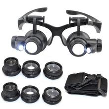 Abs + Glass Jewelry & Watch Inspection Glasses Loupe 10X 15X 20X 25X Watch Repair Magnifier Led Jeweler Watch Repair Magnifier(China (Mainland))