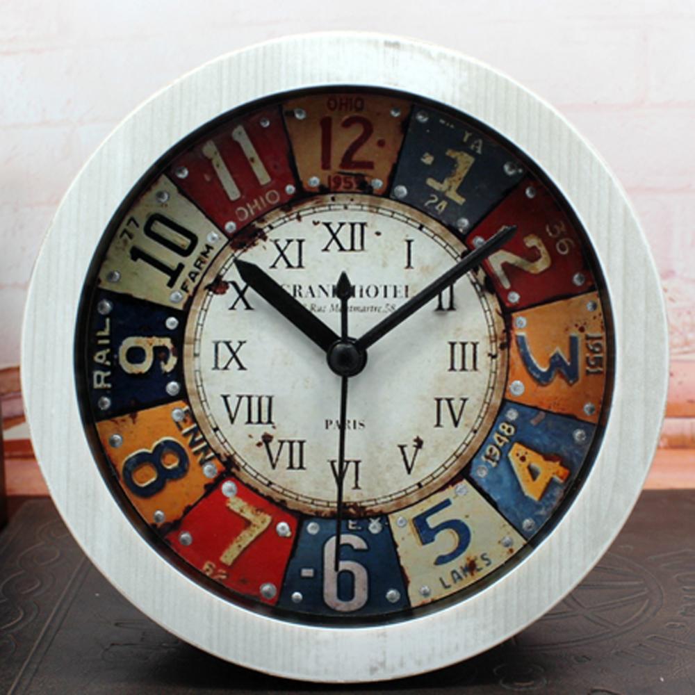European Classic Iron Drawing Style 3D Rivet Antique Desk Alarm Clock Digital Clock Roman Numerals Arabic Numbers Home Decor(China (Mainland))