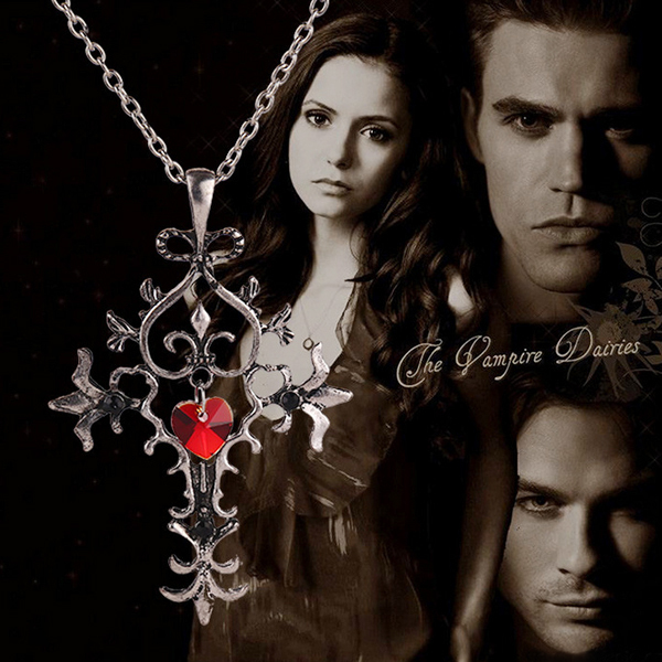 Vintage Style Vampire Diaries Red Sacred Heart Memorial Cross Pendant Necklace 1 pc(China (Mainland))