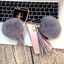 Fashion Hair Mirror Phone case For LG G3 G4 G5 V10 Luxury Soft Plush Gray Real Rabbit fur pompom Cover Fluffy Tassel back Capa()