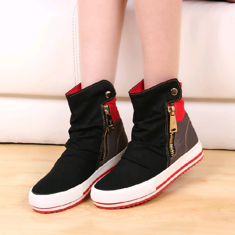 2016 new fashion canvas shoes side zipper high-top heavy-bottomed female autumn casual shose<br><br>Aliexpress