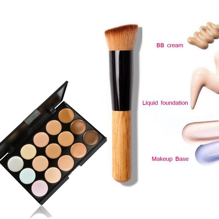 15 cores de sombra de maquiagem contorno corretivo Facial Primer Base + fundação kabuki escova contorno pó para maquiagem