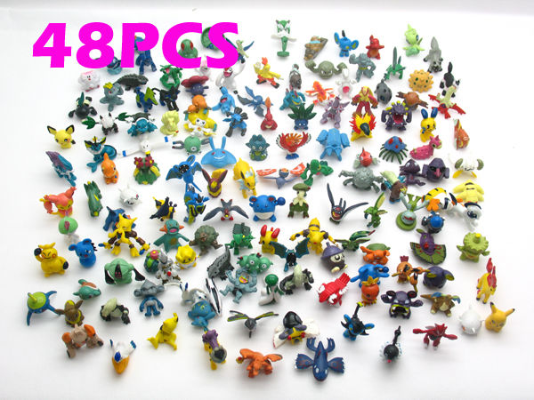 2015 child toys Brand New Cute Lots 48pcs 2-3cm Pokemon mini random Pearl ct Figures(China (Mainland))