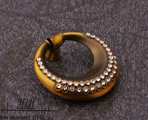 30 X Coupboard Knobs and Handles Red Bronze Ring with Crystal Furniture Knobs Free Shipping
