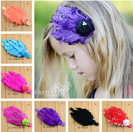 2015 Girl's Feather Head Accessories Baby Headband Princess Headband Elastic Flower Hairband 10Pcs/lot Free Shipment(China (Mainland))