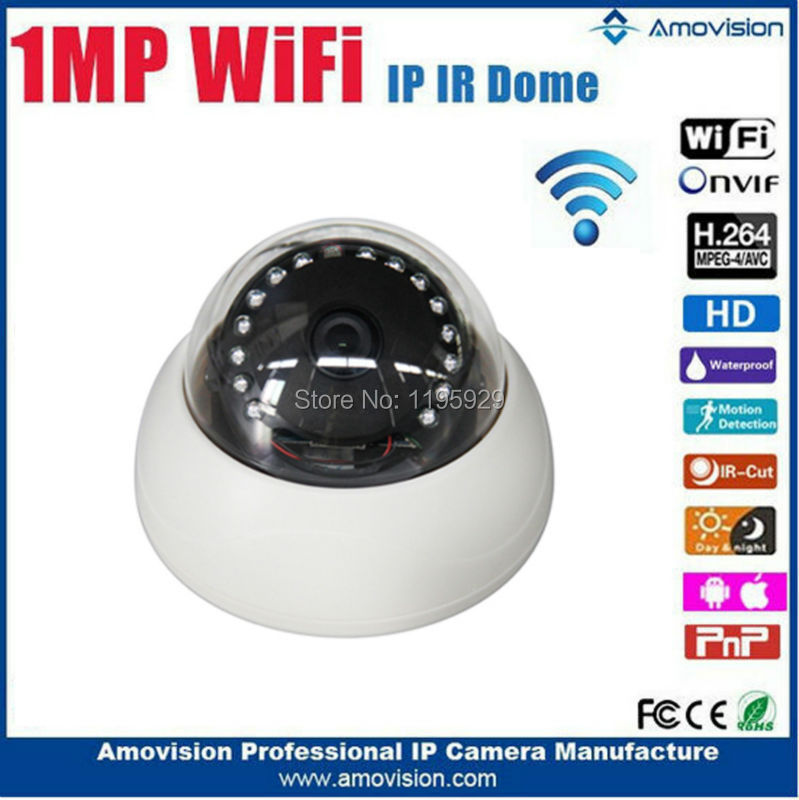 Фотография Amovision 1mp mini IR dome wifi camera Q643R-WIFI Day/Night 3.6mm fixed Lens IR 15 m waterproof ip64 onvif wireless camera