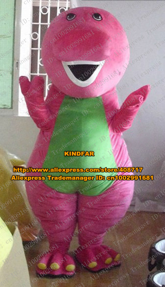 Pretty Pink Barney & Friends Dinosaur Dino Mascot Costume Cartoon Character With White Even Tooth Green Belly Fat Legs No.8081(China (Mainland))