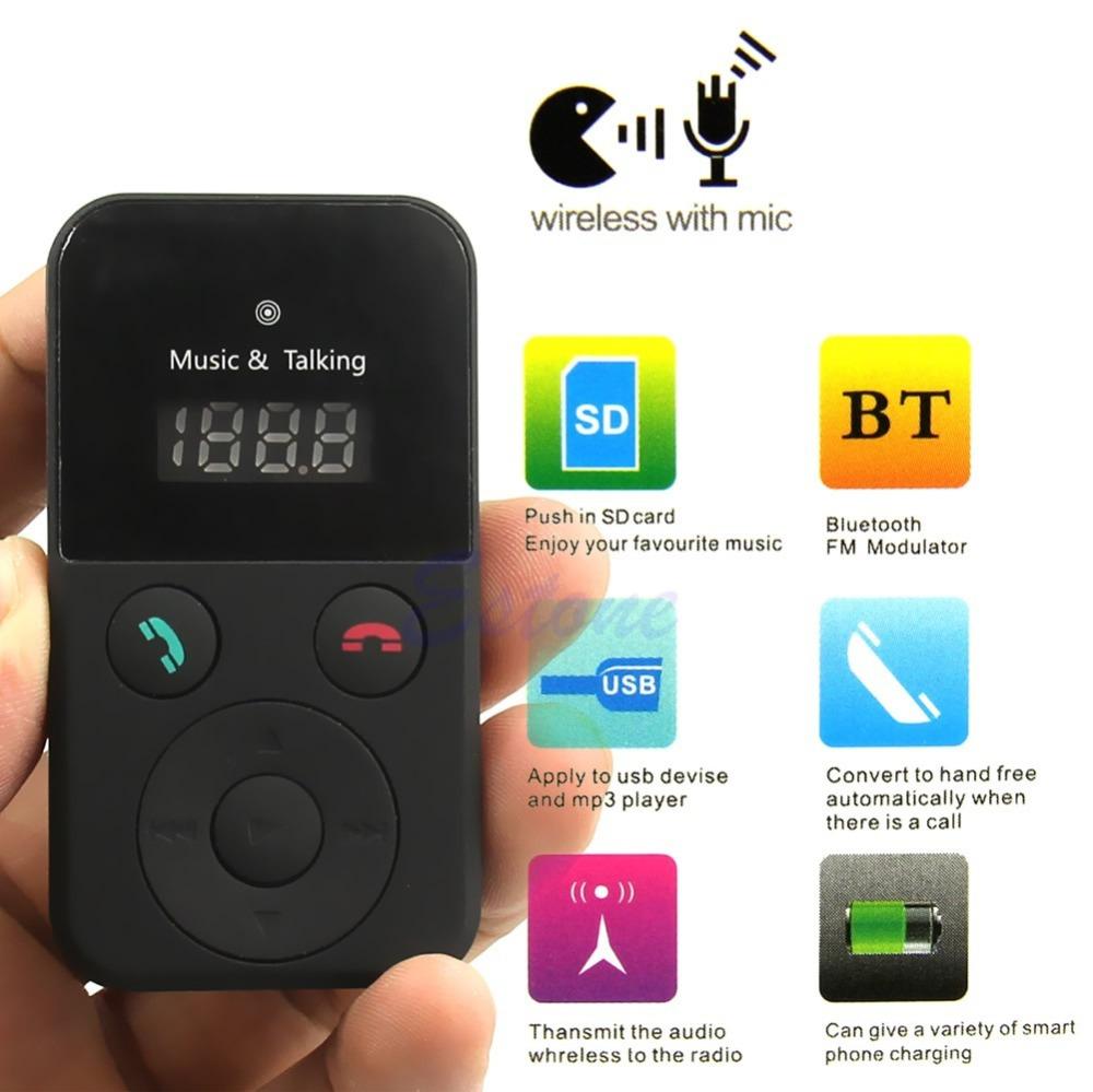Car Kit Handsfree Bluetooth Wireless FM Transmitter USB SD LCD Remote MP3 w/ Mic(China (Mainland))