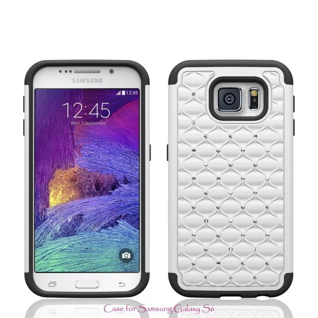 50 Pieces/lot Wholesale Full Protected Anti-Knock PC+TPU 2 in 1 Hybrid Diamante Phone Case Cover FOR Samsung Galaxy S6 S6edge(China (Mainland))