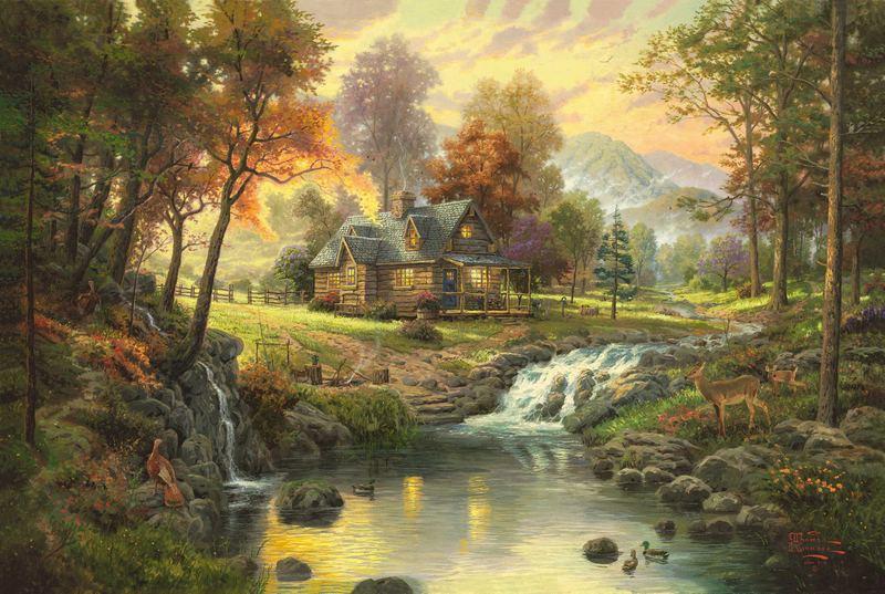 Thomas Kinkade Oil Paintings Art Print On Canvas no frame. NO.024(China (Mainland))