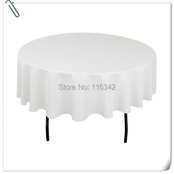 2015 Big Discount !! 20 pieces 70 '' round white polyester table cloth/table linens for wedding party decoratin Free Shipping(China (Mainland))