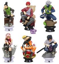 New Arrival Anime Cartoon Naruto Action Figures Gaara/kakashi/sakura/Naruto Uzumaki / Hatake Kakashi Toys 6pcs/set PVC Figures
