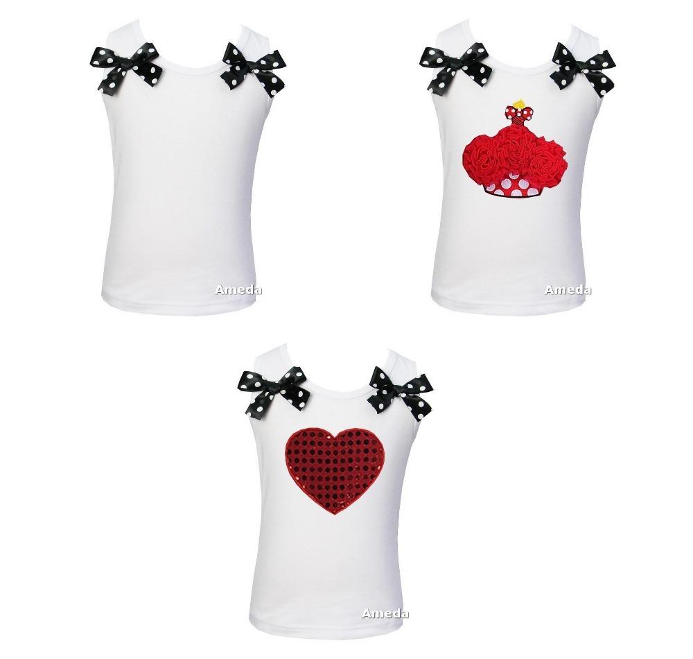 Girls Pettitop Red Black Polka Dots Bows Heart , Cupcake White Tank Top Girls Tee Shirt 1Y-10Y(Hong Kong)