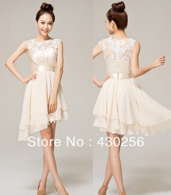 Ivory short lace prom dress beige a line princess straps for Beige short wedding dresses