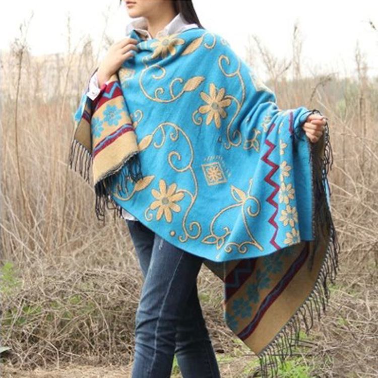 Womens Capes 2015 New Hot Selling Warm Wild Plaids Chinese Hmong Cloak Bat Poncho Shawl Four Wear 6colors 1.3*1.6m Womens Capes(China (Mainland))