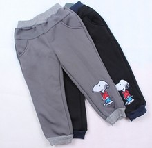 Retail Winter Childrens Fashion Pants New Cartoon Dog Boys Casual Sport Warmer Pants For 2-7Yrs Kids Thicker Pants Baby Trouser(China (Mainland))