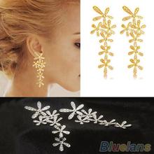 Women 2013 New Fashion Full Rhinestone Crystal Long Snowflake Flower Dangle Drop Tassel Earrings Gold Silver Sale 02K6(China (Mainland))