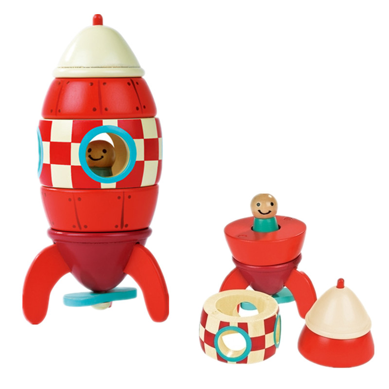 Janod Wooden Rocket Airplane Educational Wooden Toys Child Gift 3 Designs Blocks(China (Mainland))