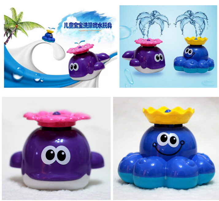Gift baby bath toys rotary automatic sprinkler small whale Kids swimming toys octopus 1pcs T1104(China (Mainland))
