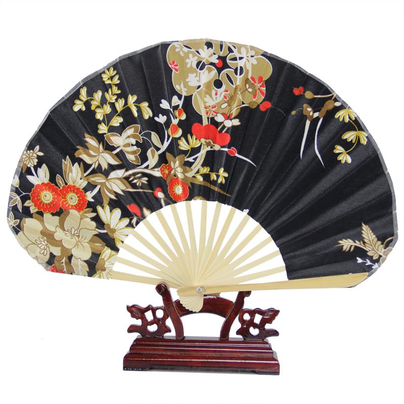 Free Shipping Half Round Shaped Japanese style Fabric Single Side Folding Fan Portable Ladies Hand Held Bamboo Fan GYS500(China (Mainland))