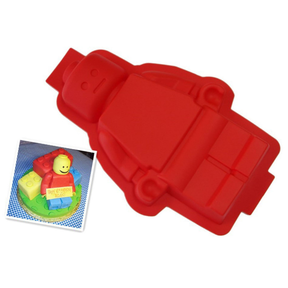 DIY Fondant Cake Decorating Tools 100% Foodgrade Silicone Lego Mold Super Big Robot Ice Baking Pan Color Red - Yiwu Sunglory Trading Co., Ltd store