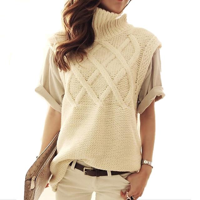 Женская водолазка толстый теплый с вязать свитера пуловеры женский жилет 2015 новых ...