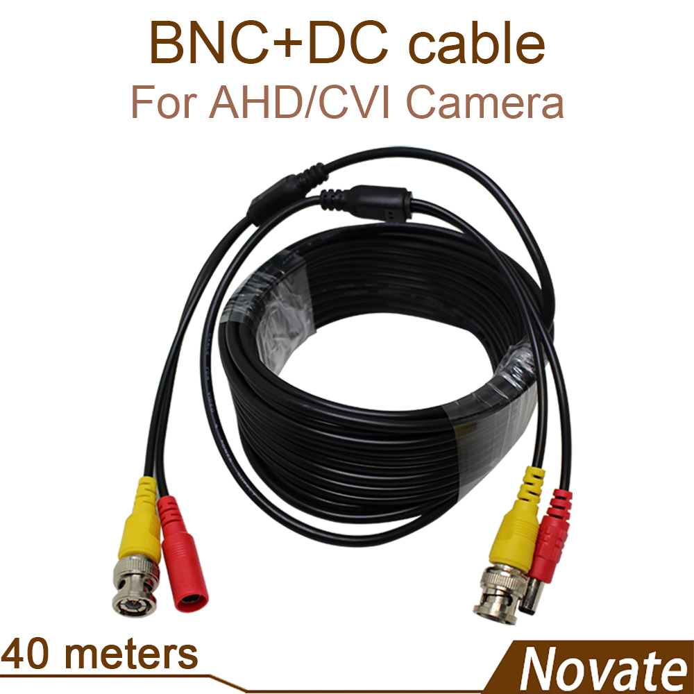 BNC CVI AHD cable 40 meters video for CCTV surveillance systems DVR NVR analog Power camera installation coaxial plug and play<br><br>Aliexpress