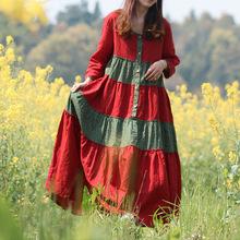 Spring Autumn Dress Women Bohemian Long Maxi Dresses Cotton Linen Shirt Dress Country Style Floral Patchwork Vestidos Robe Jurk(China (Mainland))