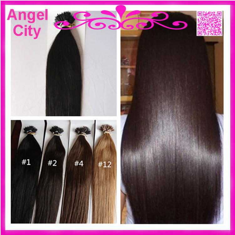 straight nano hair extension virgin pre-bonded keratin fusion capsule hair 1g/strand 100g/pc 3pcs/lot in stock free shipping(China (Mainland))