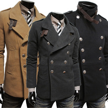 2014 New Style Woollen Clothes Winter Men's Business Formal Jacket  Casual Jacket Boutique Outwear Coat  Free Shipping 8M0242(China (Mainland))