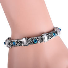 New Boho Vintage Stretch Bracelets & Bangles for Women Bohemian Antique Silver Bijoux Femme Adjustable Small Cuff Bracelet(China)
